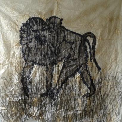 Babouin et son petit. 2017 - Caroline Desnoëttes - FLAIR Galerie