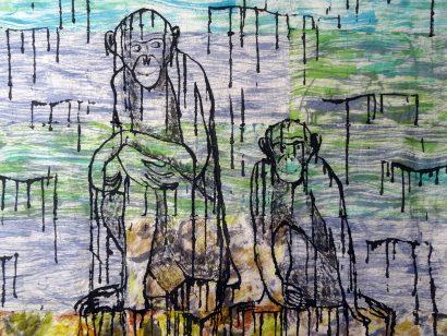 Bonobos au bord de l'eau. 2015 - Caroline Desnoëttes - FLAIR Galerie
