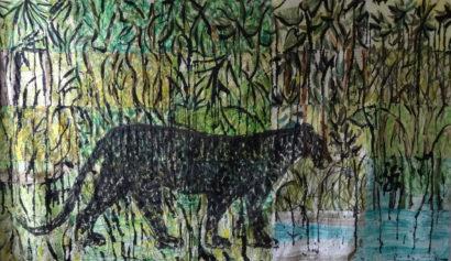 Panthère noire aux aguets. 2017 - Caroline Desnoëttes - FLAIR Galerie